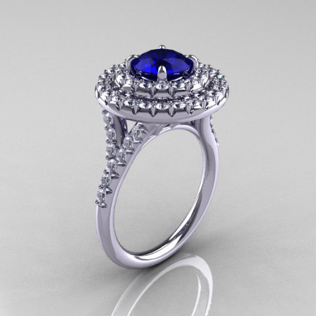 Classic Soleste 14K White Gold 1.0 Ct Blue Sapphire Diamond Ring R236-14KWGDBS-1