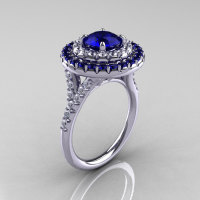 Soleste Style 14K White Gold 1.0 Ct Blue Sapphire Diamond Ring R236A-14KWGDBS-1