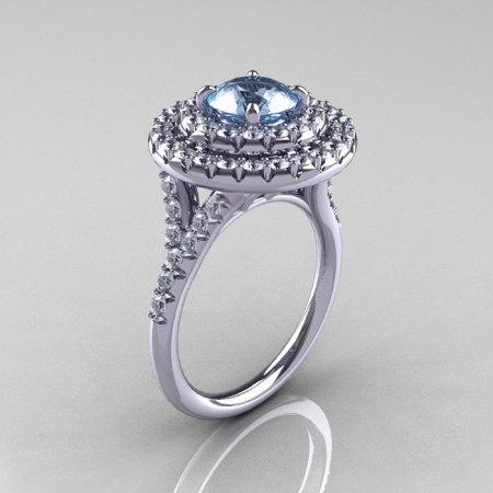 Classic Soleste 14K White Gold 1.0 Ct Aquamarine Diamond Ring R236-14KWGDAQ-1