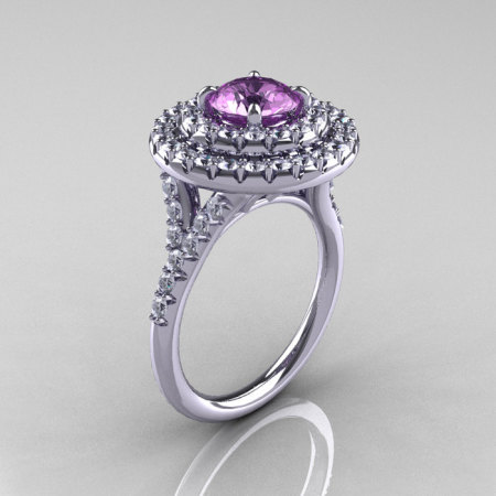 Classic Soleste 14K White Gold 1.0 Ct Lilac Amethyst Diamond Ring R236-14KWGDLA-1
