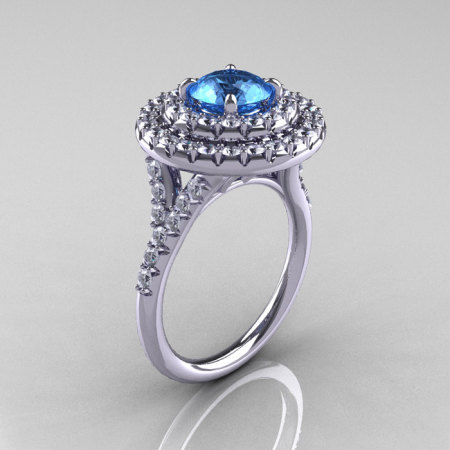 Classic Soleste 14K White Gold 1.0 Ct Blue Topaz Diamond Ring R236-14KWGDBT-1