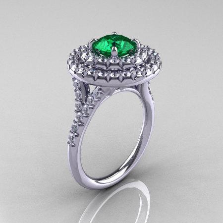Classic Soleste 14K White Gold 1.0 Ct Emerald Diamond Ring R236-14KWGDEM-1
