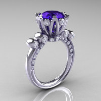 French Antique 14K White Gold 3.0 Ct Tanzanite Diamond Solitaire Wedding Ring Y235-14KWGDTA-1