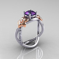 Nature Classic 14K Two-Tone Gold 1.0 CT Alexandrite Diamond Leaf and Vine Engagement Ring R180-14KTTWRGDAL-1