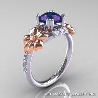 Nature Inspired 14K Two-Tone Gold 1.0 Ct Alexandrite Diamond Leaf and Vine Engagement Ring R245-14KTTWRGDAL-1