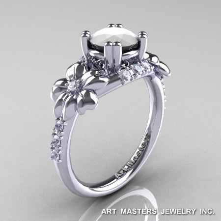 Nature Inspired 14K White Gold 1.0 Ct White Agate Diamond Leaf and Vine Engagement Ring R245-14KWGDWA-1