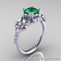 Nature Inspired 14K White Gold 1.0 Ct Emerald Diamond Leaf and Vine Engagement Ring R245-14KWGDEM-1