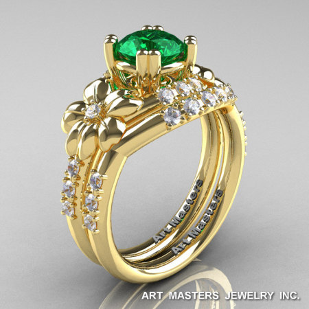 Nature Inspired 14K Yellow Gold 1.0 Ct Emerald Diamond Leaf and Vine Engagement Ring Wedding Band Set R245S-14KYGDEM-1