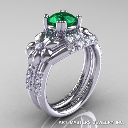 Nature Inspired 14K White Gold 1.0 Ct Emerald Diamond Leaf and Vine Engagement Ring Wedding Band Set R245S-14KWGDEM-1