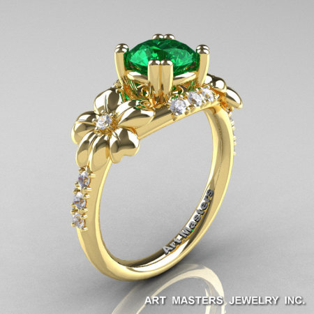 Nature Inspired 14K Yellow Gold 1.0 Ct Emerald Diamond Leaf and Vine Engagement Ring R245-14KYGDEM-1