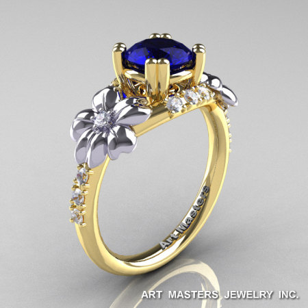 Nature Inspired 14K Yellow Two-Tone White Gold 1.0 Ct Blue Sapphire Diamond Leaf and Vine Engagement Ring R245-14KYTTWGDBS-1