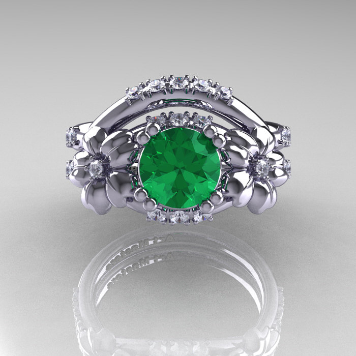 7ed549631d7 ... Nature Inspired 14K White Gold 1.0 Ct Emerald Diamond Leaf and Vine  Engagement Ring Wedding Band ...