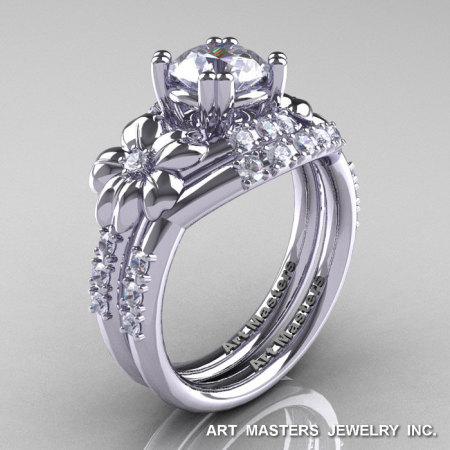 Nature Inspired 14K White Gold 1.0 Ct Russian CZ Diamond Leaf and Vine Engagement Ring Wedding Band Set R245S-14KWGDCZ-1