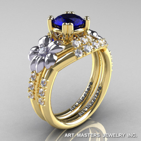 Nature Inspired 14K Yellow Two-Tone White Gold 1.0 Ct Blue Sapphire Diamond Leaf and Vine Engagement Ring Wedding Band Set R245S-14KYTTEGDBS-1
