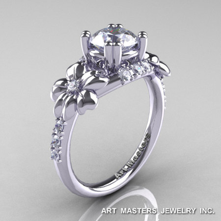 Nature Inspired 14K White Gold 1.0 Ct Russian CZ Diamond Leaf and Vine Engagement Ring R245-14KWGDCZ-1
