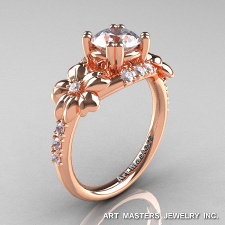 Nature Inspired 14K Rose Gold 1.0 Ct Russian CZ Diamond Leaf and Vine Engagement Ring R245-14KRGDCZ-1