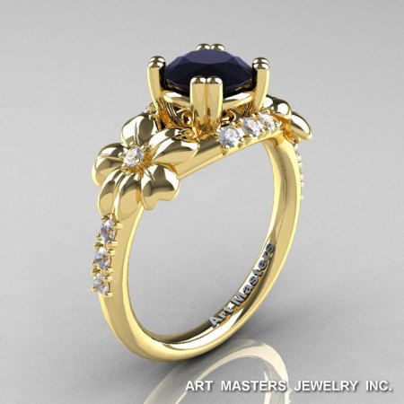 Nature Inspired 14K Yellow Gold 1.0 Ct Black White Diamond Leaf and Vine Engagement Ring R245-14KYGDBD-1