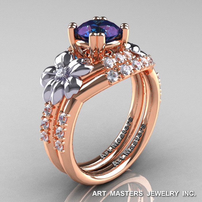 Nature Inspired 14k Rose Two Tone White Gold 2 0 Ct Alexandrite