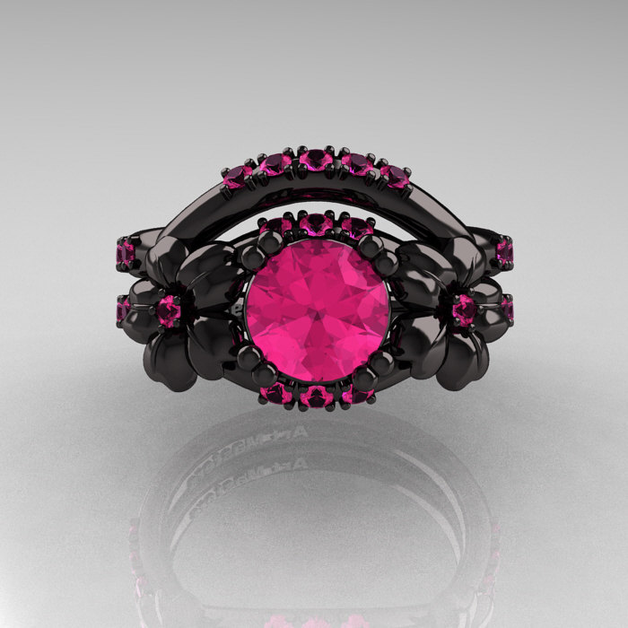 Nature Inspired 14K Black Gold 1 0 Ct Pink Sapphire Leaf and Vine Engagement