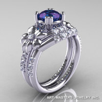 Nature Inspired 14K White Gold 1.0 Ct Alexandrite Diamond Leaf and Vine Engagement Ring Wedding Band Set R245S-14KWGDAL-1