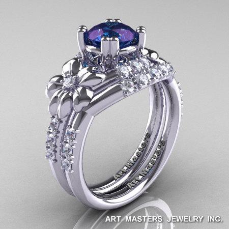 Nature Inspired 14K White Gold 1.0 Ct Alexandrite Diamond Leaf and Vine Engagement Ring Wedding Band Set R245S-14KWGDAL-1