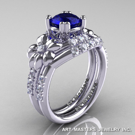 Nature Inspired 14K White Gold 1.0 Ct Blue Sapphire Diamond Leaf and Vine Engagement Ring Wedding Band Set R245S-14KWGDBS-1