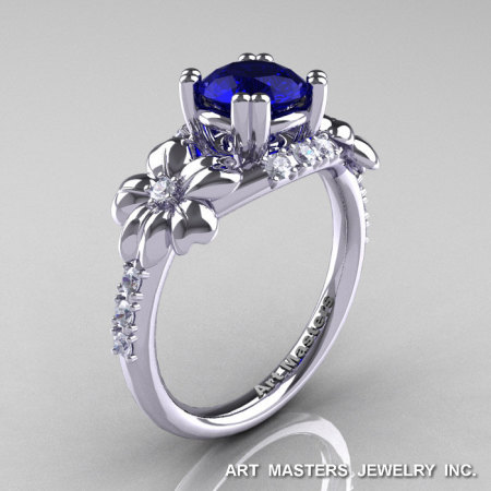 Nature Inspired 14K White Gold 1.0 Ct Blue Sapphire Diamond Leaf and Vine Engagement Ring R245-14KWGDBS-1