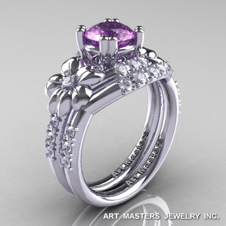 Nature Inspired 14K White Gold 1.0 Ct Lilac Amethyst Diamond Leaf and Vine Engagement Ring Wedding Band Set R245S-14KWGDLAM-1