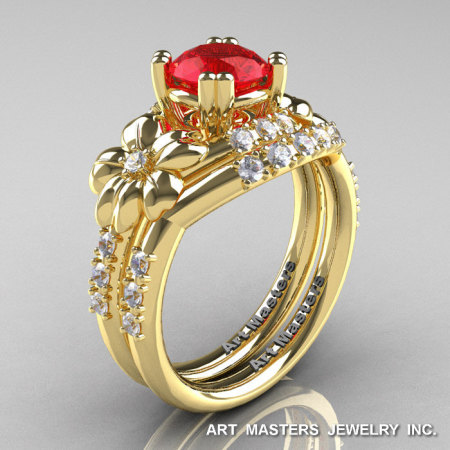 Nature Inspired 14K Yellow Gold 1.0 Ct Ruby Diamond Leaf and Vine Engagement Ring Wedding Band Set R245S-14KYGDR-1