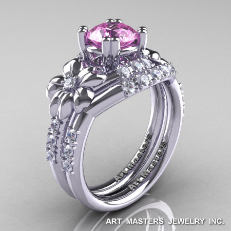 Nature Inspired 14K White Gold 1.0 Ct Light Pink Sapphire Diamond Leaf and Vine Engagement Ring Wedding Band Set R245S-14KWGDLPS-1