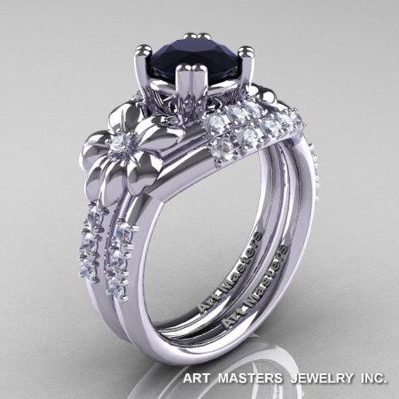Nature Inspired 14K White Gold 1.0 Ct Black White Diamond Leaf and Vine Engagement Ring Wedding Band Set R245S-14KWGDBD-1
