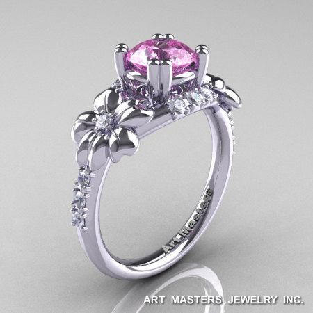 Nature Inspired 14K White Gold 1.0 Ct Light Pink Sapphire Diamond Leaf and Vine Engagement Ring R245-14KWGDLPS-1