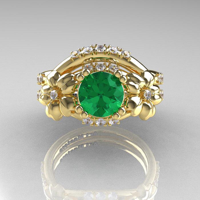 Nature Inspired 14K Yellow Gold 1.0 Ct Emerald Diamond ...
