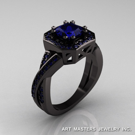 American Classic 14K Black Gold 1.23 CT Princess Blue Sapphire Engagement Ring R189P-14KBGBS-1
