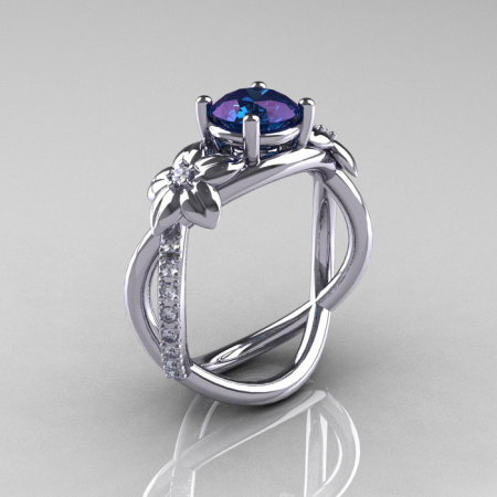 Nature Classic 950 Platinum 1.0 CT Alexandrite Diamond  Leaf and Vine Engagement Ring R180-PLATDAL-1