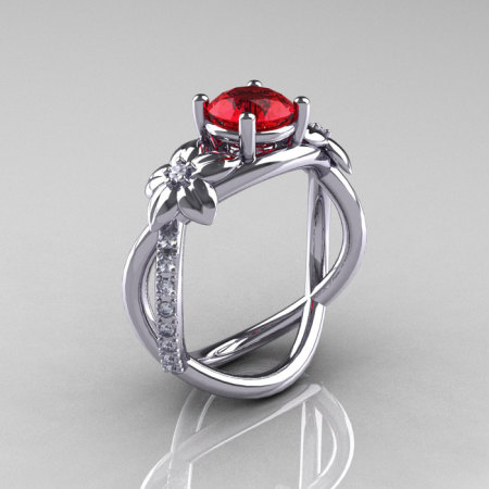 Nature Classic 14K White Gold 1.0 CT Ruby Diamond  Leaf and Vine Engagement Ring R180-14KWGDR-1