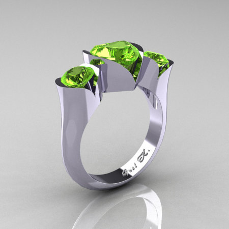 Nature Classic 10K White Gold 2.0 Ct Heart Peridot Three Stone Floral Engagement Ring Wedding Ring R434-10KWGDP-1