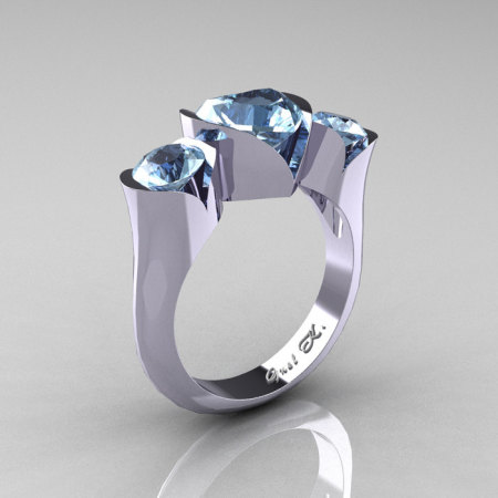 Nature Classic 10K White Gold 2.0 Ct Heart Aquamarine Three Stone Floral Engagement Ring Wedding Ring R434-10KWGAQ-1