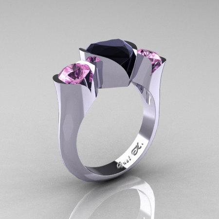 Nature Classic 10K White Gold 2.0 Ct Heart Black Diamond Light Pink Sapphire Three Stone Floral Engagement Ring Wedding Ring R434-10KWGLPSBD-1