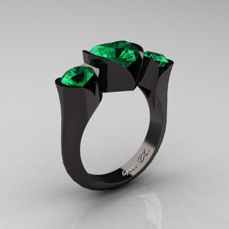 Nature Classic 14K Black Gold 2.0 Ct Heart Emerald Three Stone Floral Engagement Ring Wedding Ring R434-14KBGEM-1