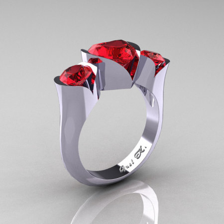 Nature Classic 10K White Gold 2.0 Ct Heart Rubies Three Stone Floral Engagement Ring Wedding Ring R434-10KWGR-1