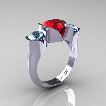 Nature Classic 10K White Gold 2.0 Ct Heart Ruby Aquamarine Three Stone Floral Engagement Ring Wedding Ring R434-10KWGAQR-1