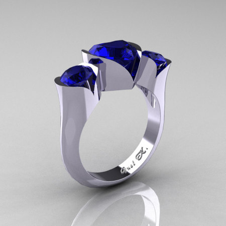 Nature Classic 10K White Gold 2.0 Ct Heart Blue Sapphire Three Stone Floral Engagement Ring Wedding Ring R434-10KWGBS-1
