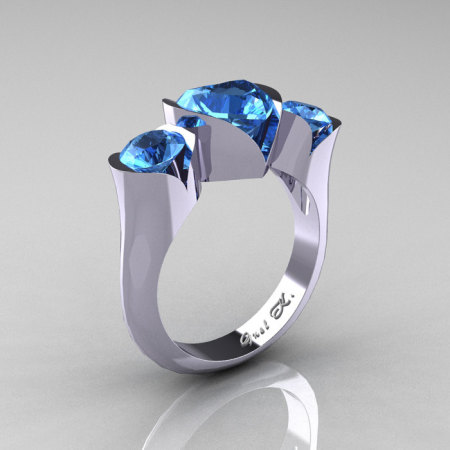 Nature Classic 10K White Gold 2.0 Ct Heart Blue Topaz Three Stone Floral Engagement Ring Wedding Ring R434-10KWGBT-1