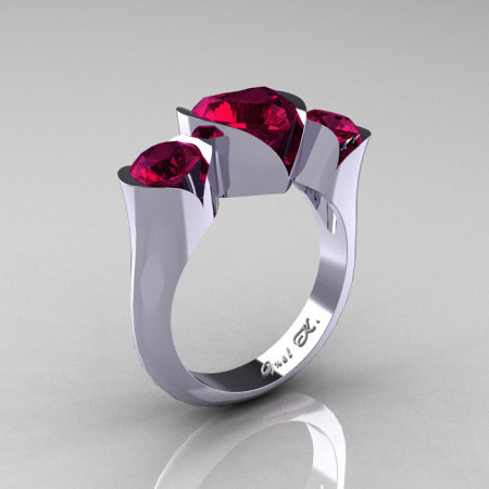 Nature Classic 10K White Gold 2.0 Ct Heart Garnet Three Stone Floral Engagement Ring Wedding Ring R434-10KWGG-1