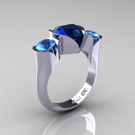 Nature Classic 10K White Gold 2.0 Ct Heart Blue Sapphire Blue Topaz Three Stone Floral Engagement Ring Wedding Ring R434-10KWGBTBS-1