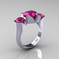 Nature Classic 10K White Gold 2.0 Ct Heart Pink Sapphire Three Stone Floral Engagement Ring Wedding Ring R434-10KWGPS-1