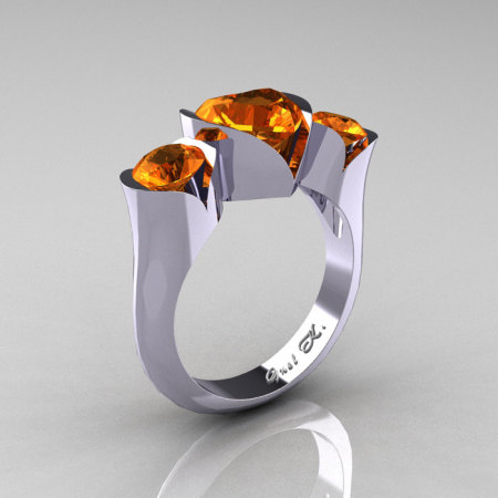 Nature Classic 10K White Gold 2.0 Ct Heart Orange Sapphire Three Stone Floral Engagement Ring Wedding Ring R434-10KWGOS-1
