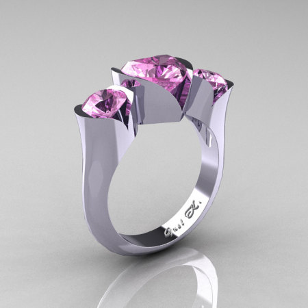 Nature Classic 10K White Gold 2.0 Ct Heart Light Pink Sapphire Three Stone Floral Engagement Ring Wedding Ring R434-10KWGLPS-1