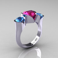 Nature Classic 10K White Gold 2.0 Ct Heart Pink Sapphire Blue Topaz Three Stone Floral Engagement Ring Wedding Ring R434-10KWGBTPS-1